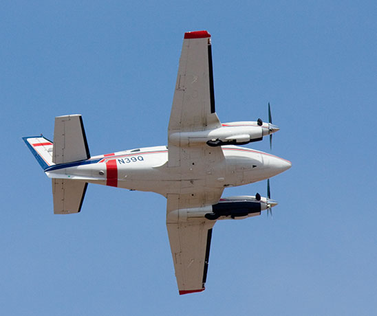 Beechcraft King Air 90 Aerial Supervision Module Lead Plane in flight flying